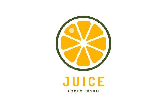 Lime or lemon fruit drink logo icon template design. Orange