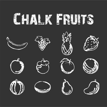 Fruit in Chalk Vector Illustration - Hand Drawing