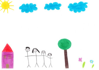 Children's drawing by hand