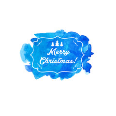 Illustration watercolor winter label with text Merry Christmas.