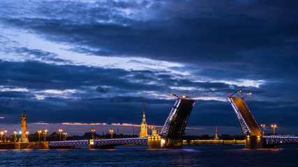 View of Palace Bridge and Peter and Paul Fortress, Neva River, St. Petersburg, Russia