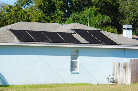 Solar water heating system on a house