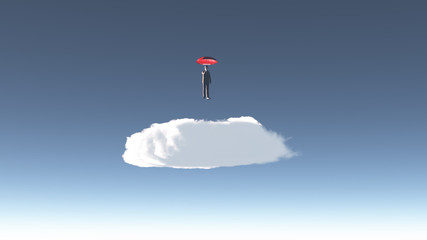 Man hovers above cloud