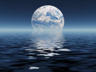 Blue Planet seen in distance