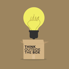 Light bulb thinking outside the box