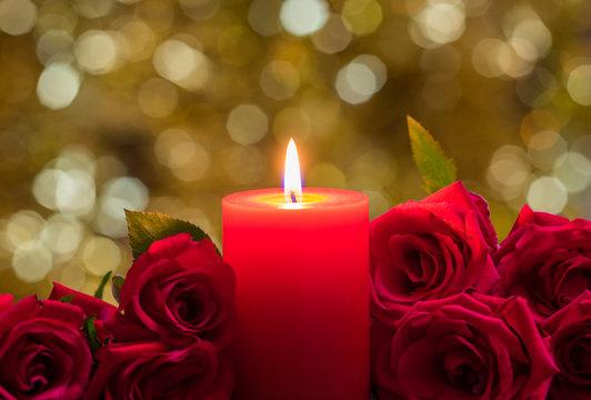 キャンドル 赤いバラ