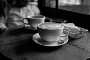 Hot coffee in black and white style