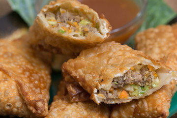Egg Rolls with sauce