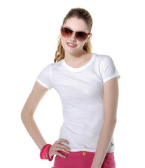 Fashion portrait of a beautiful young woman in t-shirt wearing