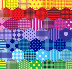 Seamless background. 46 geometric patterns The patchwork patterns of hexagons iridescent.