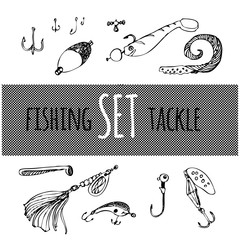 A set of fishing gear. Drawing by hand. A vector image.