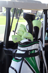 golf club in a bag on a field