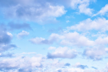 Aluminium Prints Heaven Delicate Blue Sky Background in Pastel Shades with White Clouds