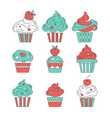 Cupcakes flat icons on isolated background