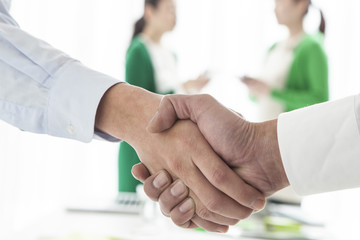 Men shaking hands in the office