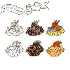 Set of Cake icons. Isolated on white background. Vector illustra