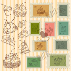Vector postage stamps retro pastry theme, canceled, decorative s