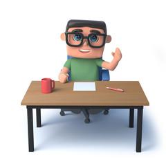 3d Boy in glasses works at his desk