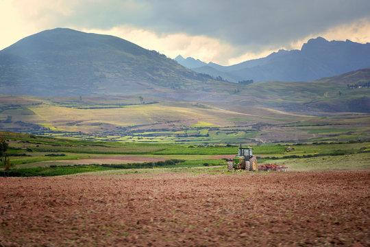Tractor in the field, Peru