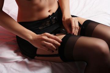 Beautiful lady woman wear black stockings