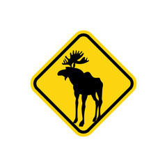 Road sign yellow deer, Moose. Vector pointer Attention animal. W