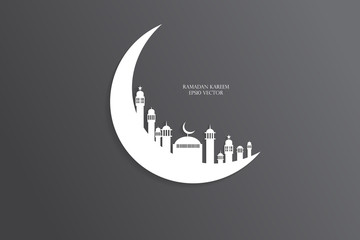 Moon, Abstract view of Mosque or Masjid with shadow on moon, pap