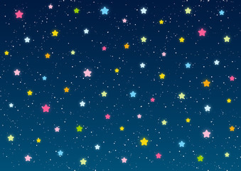 Shiny stars on blue sky background