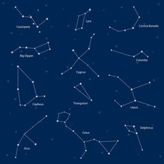 Constellations: cassiopeia, big dipper, cepheus, lyra, grus, cyg