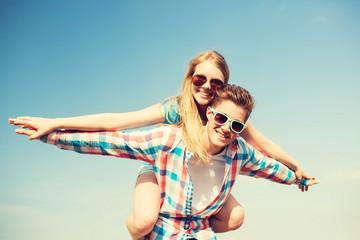 smiling couple having fun outdoors