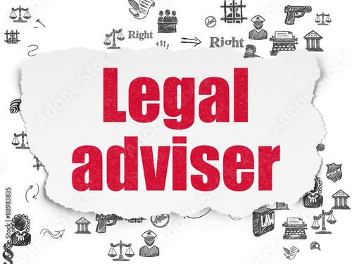 """Law concept: Legal Adviser on Torn Paper background ..."