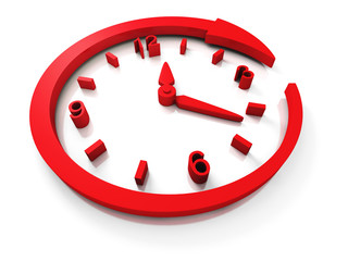 Red Concept Clock Dial With Around Arrow