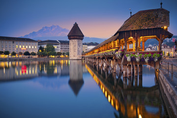 Lucerne. Image of Lucerne, Switzerland during twilight blue hour. Wall mural