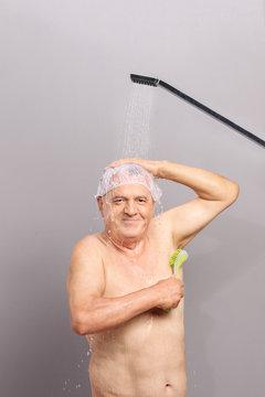 Senior taking a shower