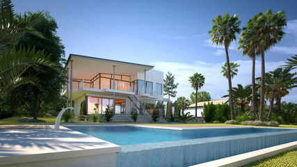 Luxury house with tropical garden and pool