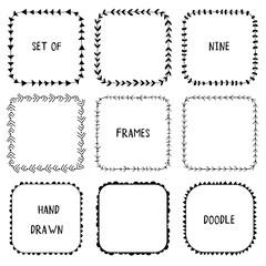 Hand drawn doodle ornamental frames. Vector elements.