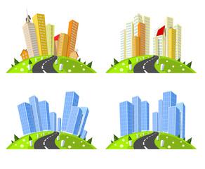 Vector cities skylines set.