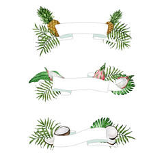 Vector ribbons with tropical fruits