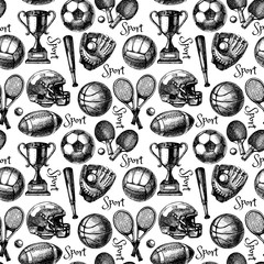 Hand drawn sketch sport seamless pattern with balls