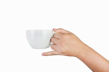 hand holding white mug isolated on white background