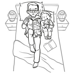 Funny cartoon father reading book for his child. vector illustra