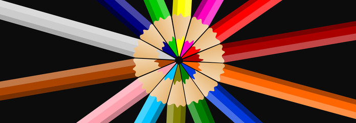 Colored pencils or crayons isolated on black background