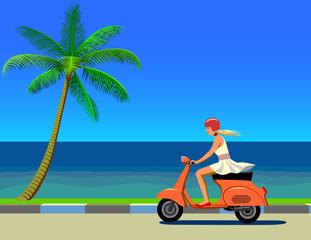 Девушка едет на скутере вдоль моря.