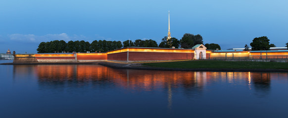 Russia, St. Petersburg. Peter and Paul Fortress in a white night