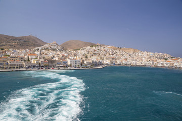 Syros Greek island, view from ship