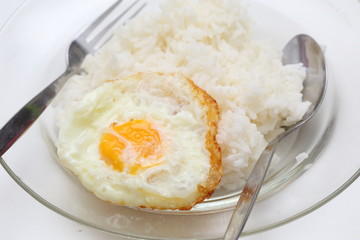 rice and fried eggs of easy breakfast cooking