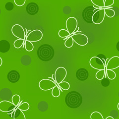Seamless green pattern with circles and butterflies
