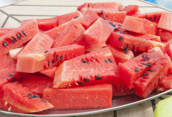 Plate of fresh water melon fruit