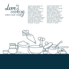vector illustration of kitchen utensils with signature