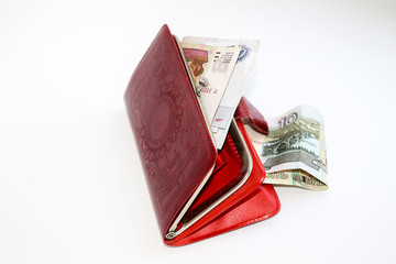 Red leather purse with money.