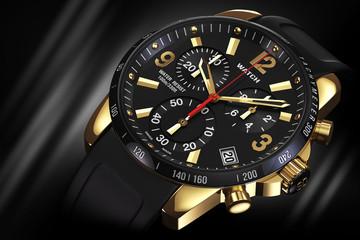Golden wrist watch closeup